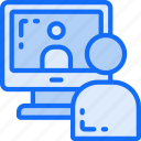 business, computer, conference, link, online icon