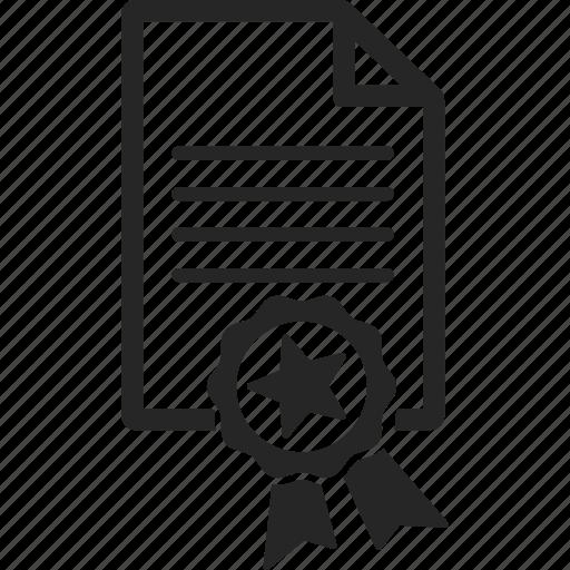 award, document, file, prize, ribbon icon