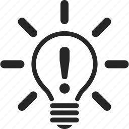 exclamation, idea, light, light bulb icon