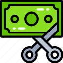 banking, business, costs, cut, finances, profit icon