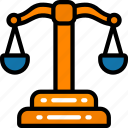 banking, business, courts, justice, scales icon