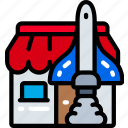 business, launch, market, rocket, shop, start up icon