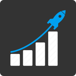 business, chart, grow up, report, rocket start, sales, startup icon