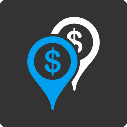 bank places, banking, cash, economy, finance, map markers, money icon