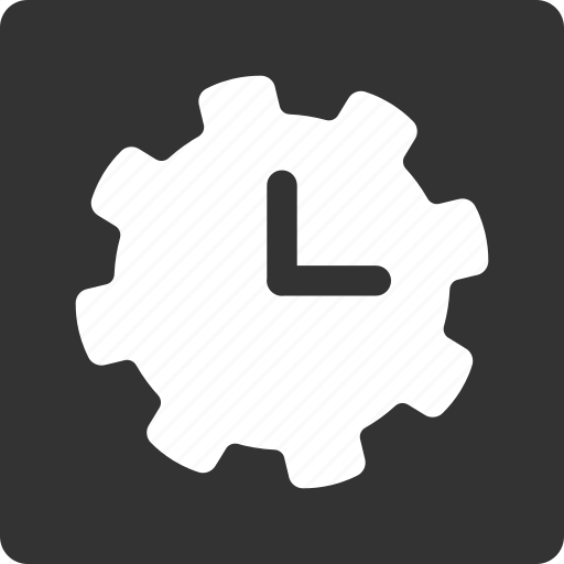 clock, gear, options, preferences, settings, time, tools icon