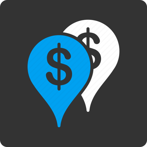 bank branches, banking, geo targeting, gps, map markers, navigation, pointers icon