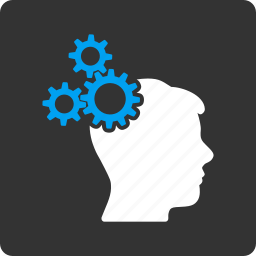 brain, business idea, gears, head, mind, technology, think icon