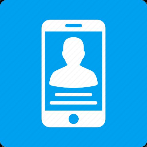 cellphone, communication, mobile account, person, phone, profile, user icon