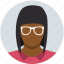 business, female, finance, glasses, marketing, office, woman icon