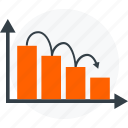 analysis, analytics, chart, down, graph, report, statistics icon icon