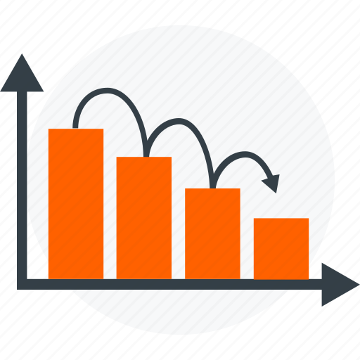 analysis, analytics, chart, down, graph, report, statistics icon icon
