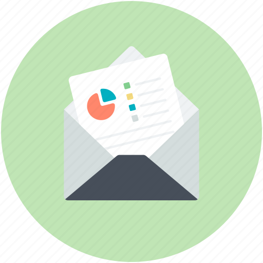 analytics, graph, letter, mail, reports icon