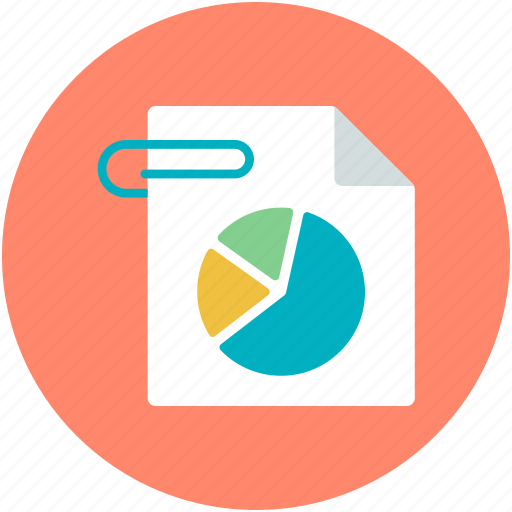 attached file, business report, pie chart, statistics icon