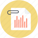 attached file, bar graph, business report, statistics icon