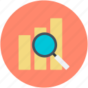 analysis, analytics, analyzing, bar graph, magnifier icon