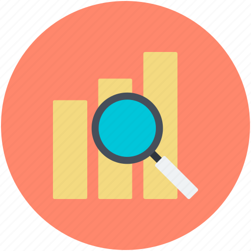 analysis, analytics, analyzing, bar graph, magnifier icon