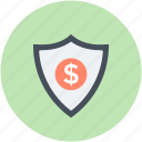 dollar shield, safe banking, safe money, secure banking, secure business icon