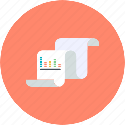 business analysing, business report, data report, financial report, statistical document icon
