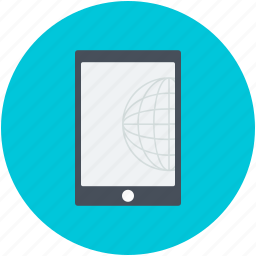 mobile, mobile internet, screen globe, smartphone, social network icon