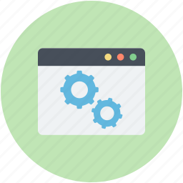 browser, screen gear, seo, technical support, website icon
