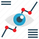 analysis, eye, graph, marketing, vision icon