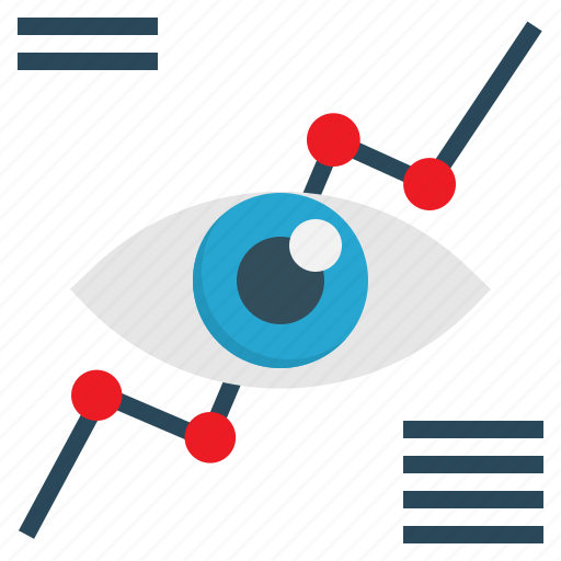 Graph, eye, analysis, vision, marketing icon