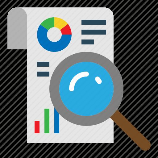 Search, statistics, bar, graph, chart, analytics, magnifier icon