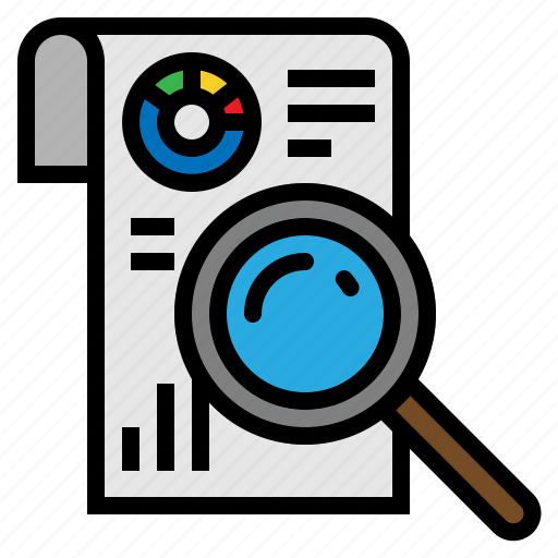Search, statistics, bar, graph, chart, analytics, magnifier icon