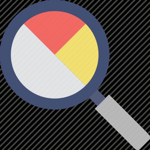 analytics, magnifier, pie chart, search graph, statistics icon