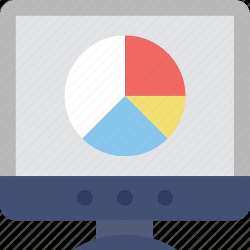 monitor, pie chart, pie graph, screen, web analytics icon