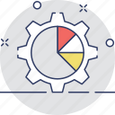 cog, data management, gear, graph, pie chart icon