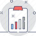 bar chart, clipboard, document, graph report, report icon