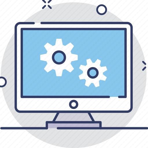 cog, configure, development, monitor, screen icon