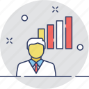 business, business person, graph, statistics, training icon