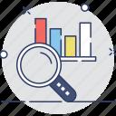 analytics, bar chart, magnifier, search graph, statistics