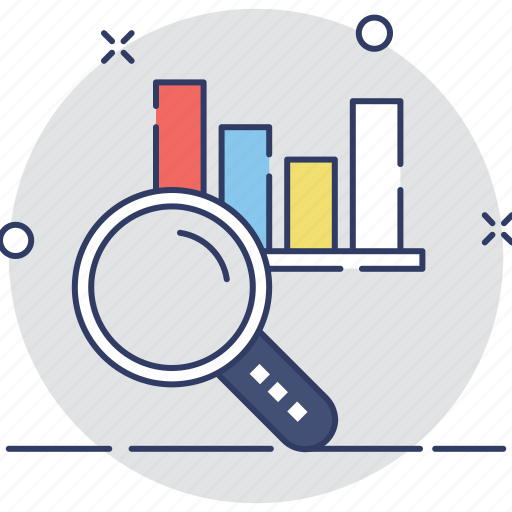 analytics, bar chart, magnifier, search graph, statistics icon
