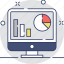 bar graph, monitor, pie chart, screen, web analytics icon
