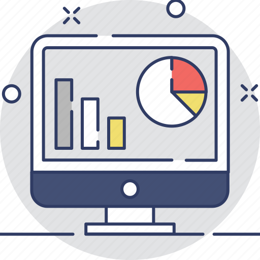 bar graph, monitor, pie chart, screen, web analytics icon
