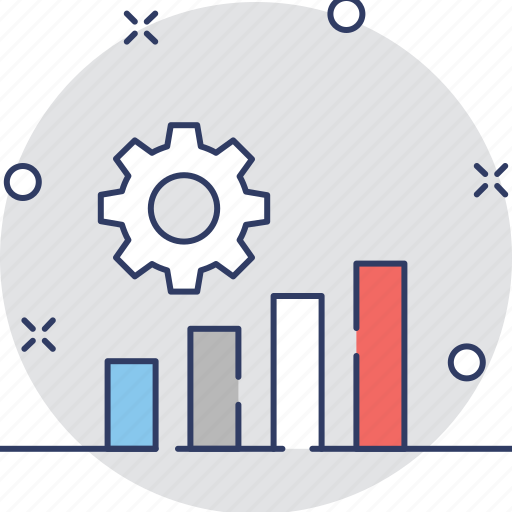 bar chart, bar graph, cog, data management, gear icon