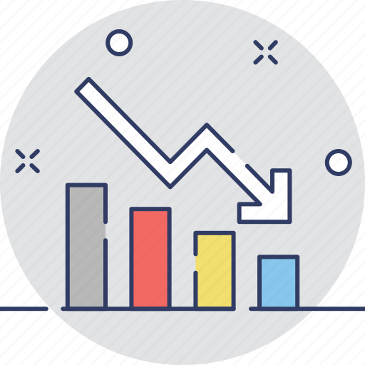 chart, decreasing, graph, loss, statistics icon