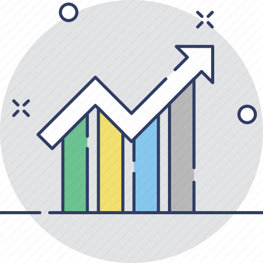 arrow, business graph, forecasting, growth, trending icon