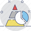 chart, graph, pie chart, pyramid, triangle icon