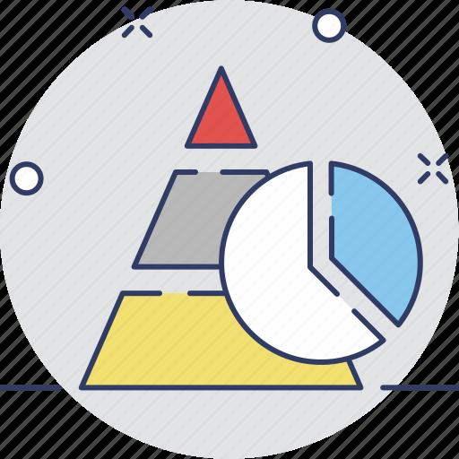 chart, graph, pie chart, pyramid, triangle icon