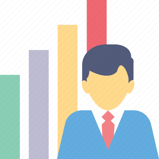 bar graph, business, business person, statistics, training icon