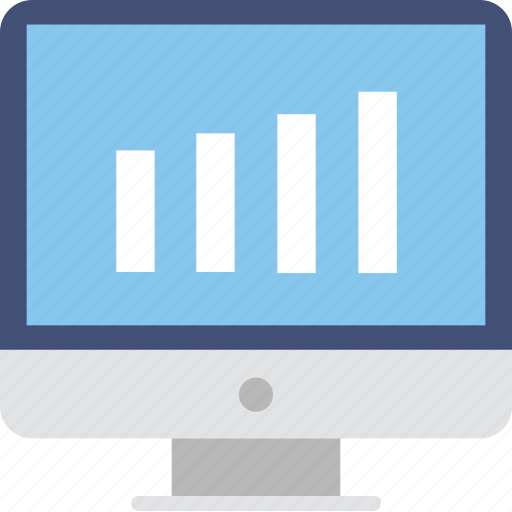 bar chart, bar graph, monitor, screen, statistics icon