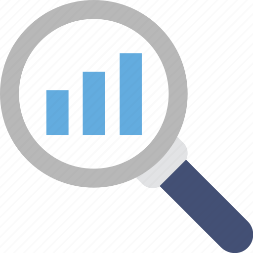 analytics, bar chart, magnifier, search graph, statistics icon