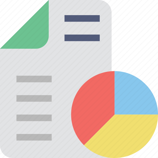 business report, graphic, pie chart, report, statistics icon