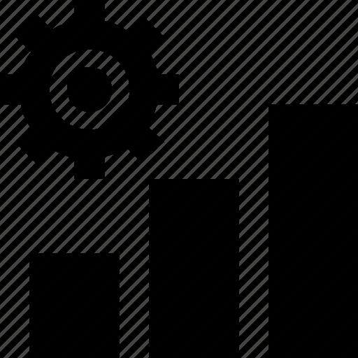 bar chart, bar graph, cog, data management, gear icon