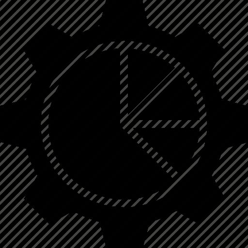 cog, data management, gear, graph, pie chart icon