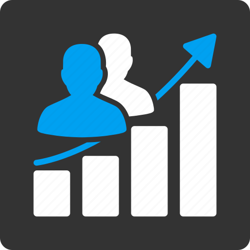 audience growth, chart, graph, people, report, seo, social icon